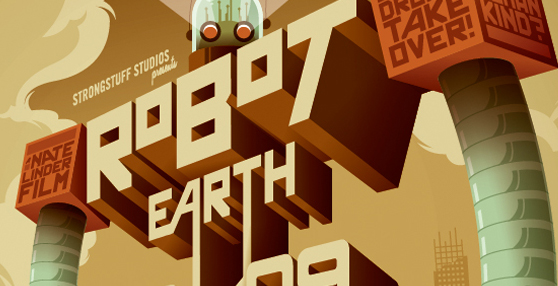 Making of Robot Earth 3009 Typographic Illustration