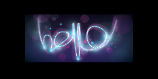 "Glowing ""hello"" text effect in Photoshop"