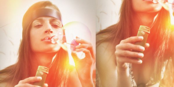 Lighting effects for vintage photo looks