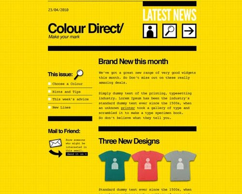 email template free colour direct