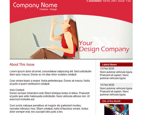 email template free red
